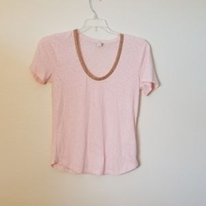 🤗 J. Crew Pink Short Sleeve with Beaded Neck S